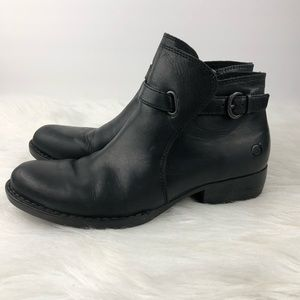 Born Black Leather Ankle Booties